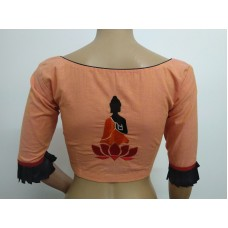 Peach hand embroidered designer blouse (size 36, margin to increase to 40)