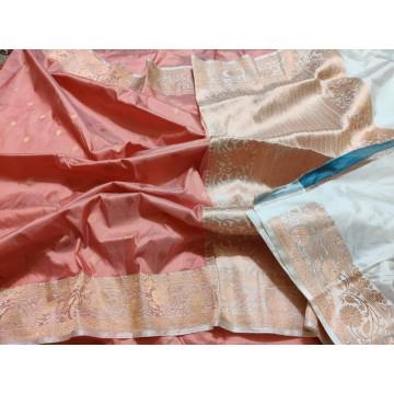 Peach and cream Banarasi Katan silk saree