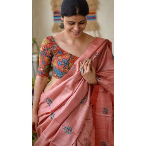 Peach embroidered Tussar silk saree