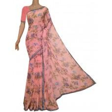 Peach chiffon blend saree with floral print