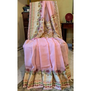 Peach georgette Banarasi saree with all-over woven blouse