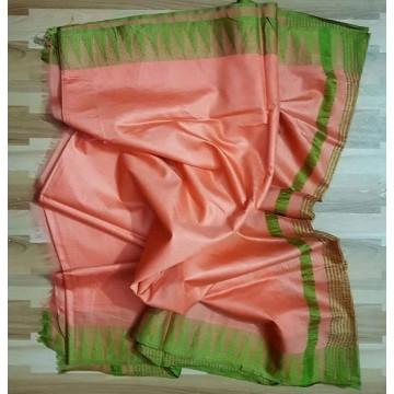 Peach and green Kota viscose saree with temple border