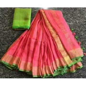 Peach and light green linen saree