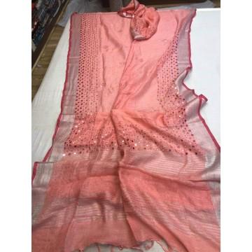 Peach linen mirrorwork saree