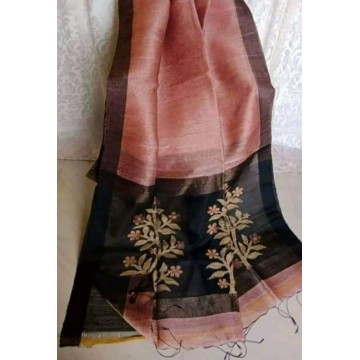 Peach linen-silk saree with jamdani pallu