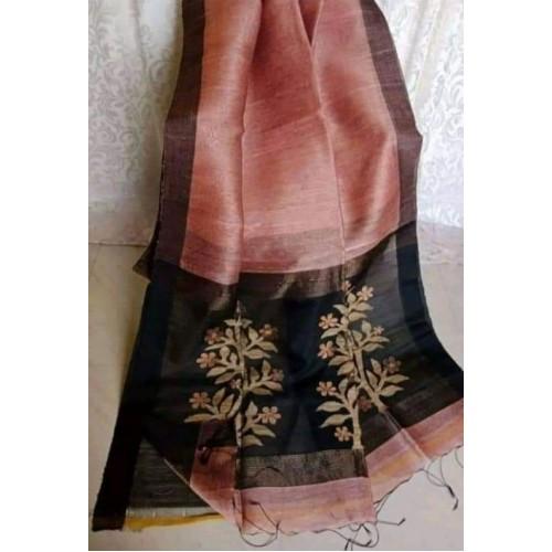 Peach linen-silk saree with jamdani pallu