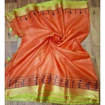 Peach linen saree with musical notes embroidery