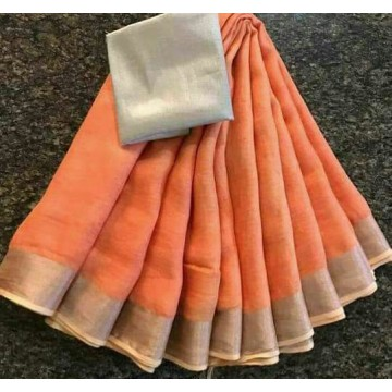 Peach and silver linen saree