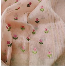 Peach linen-silk saree with small embroidered motifs