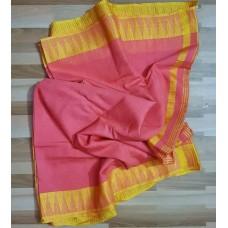 Peach and yellow Kota viscose saree with temple border