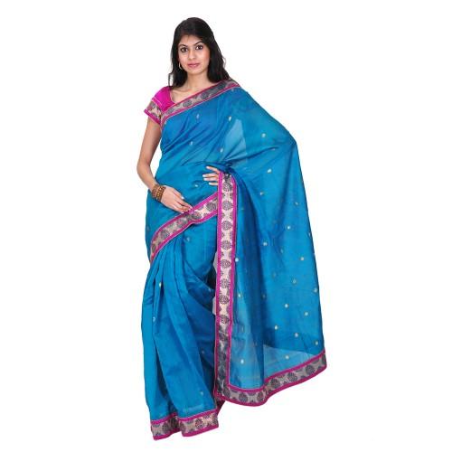 Peacock blue Chanderi saree
