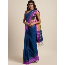 Peacock blue Bengal handloom cotton blend saree