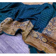 Peacock Banarasi georgette saree with silver floral jaal