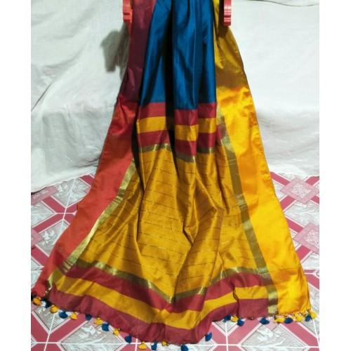 Peacock blue silk-cotton saree with Ganga-Jamuna border