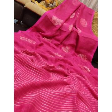 Pink linen saree with Banarasi woven motifs