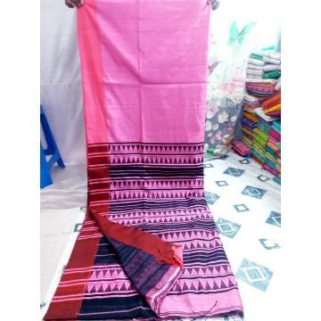 Pink Bihu silk-cotton saree