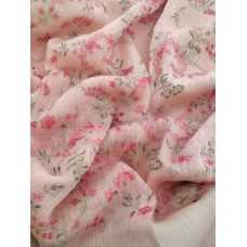 Pink linen-silk saree with floral embroidery