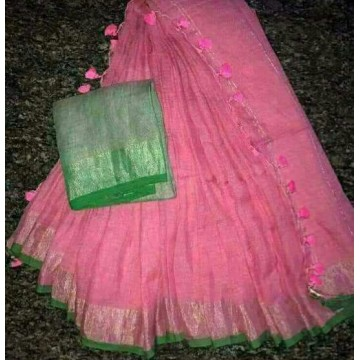 Pink and green linen saree