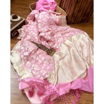 Baby pink Banarasi georgette saree with light gold zari floral jaal
