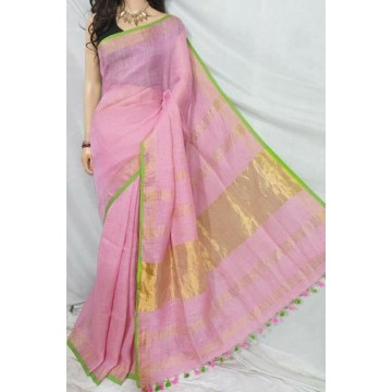 Baby pink linen saree with lime green trim
