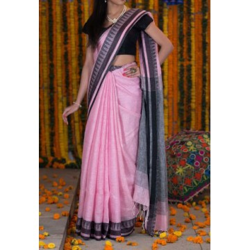 Pink linen saree with black temple border