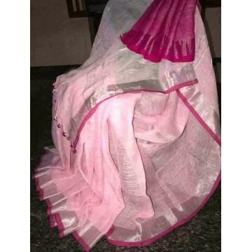 Pink and magenta linen saree