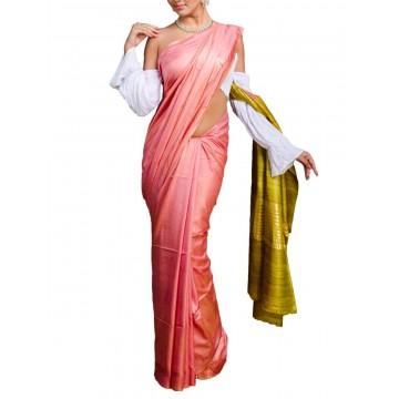 Pink Tussar silk saree with mustard yellow Ghicha pallu