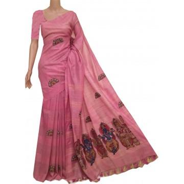 Pink semi-Tussar saree with hand painted Kalamkari applique
