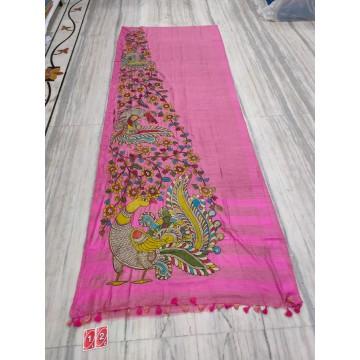 Pink silk-cotton saree with hand-painted Kalamkari applique - 2