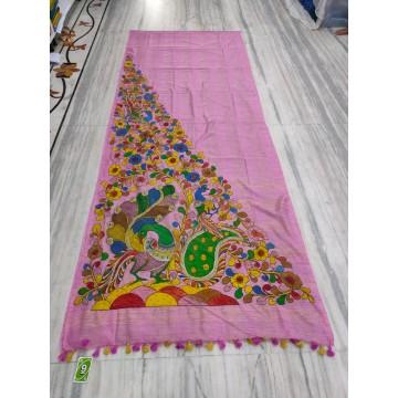 Pink silk-cotton saree with hand-painted Kalamkari applique - 1