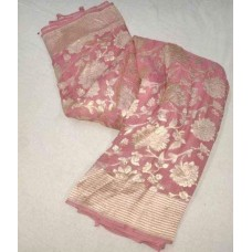 Pale pink Banarasi georgette saree with silver floral jaal