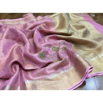 Pink tissue linen saree with hand embroidery