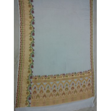 Off-white Banarasi georgette saree with rich gold border