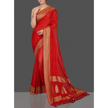 Red Banarasi georgette saree with rich gold border
