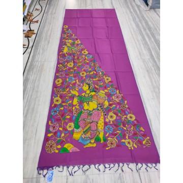 Purple silk-cotton saree with hand-painted Kalamkari applique