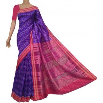 Purple and red Ikat silk saree