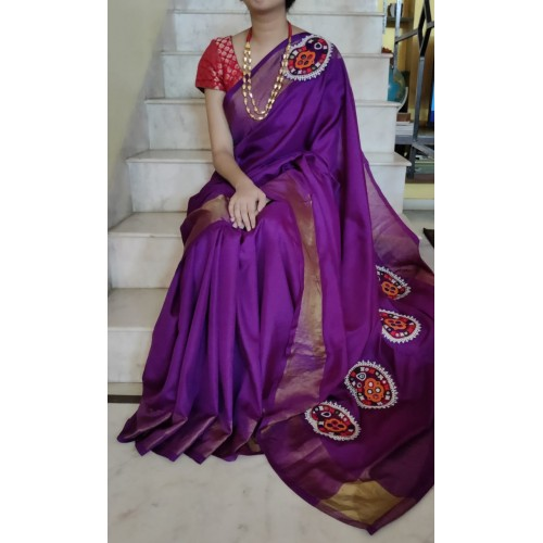 Purple Uppada silk saree with hand embroidered Kutchi patches