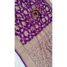 Purple Banarasi georgette saree with gold floral jaal