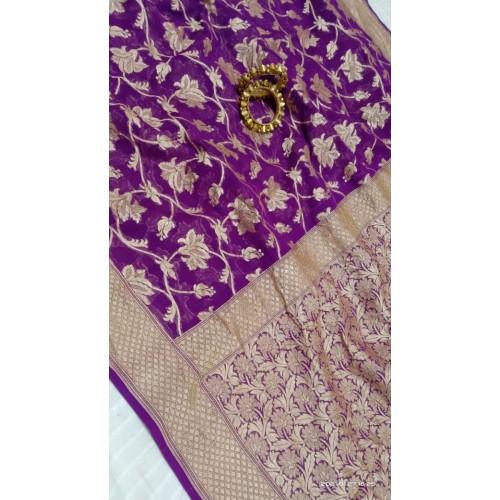 Purple Banarasi georgette saree with gold floral jaal
