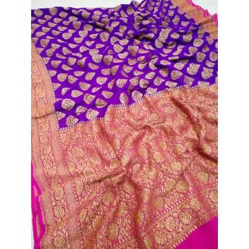 Purple and magenta Khaddi Banarasi chiffon saree with antique gold zari