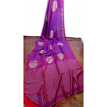 Purple and red linen saree with Banarasi woven motifs