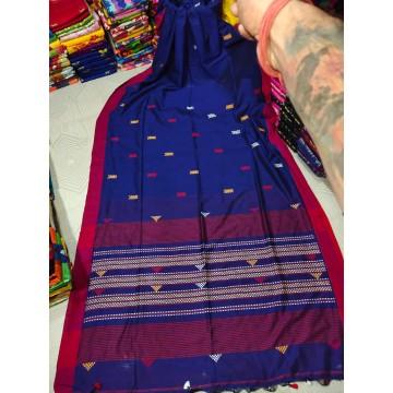Royal blue tribal weaving Khadi cotton saree