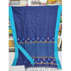 Royal blue mercerized cotton saree with jamdani pallu and Kantha stitch