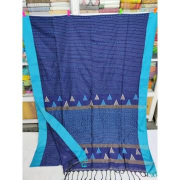 Royal blue mercerized cotton saree with jamdani pallu and Kantha stitch