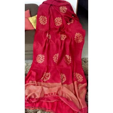 Red linen saree with Banarasi woven motifs