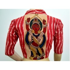 Red Ikat blouse with Kalamkari patch (size 36, can be extended to size 40)