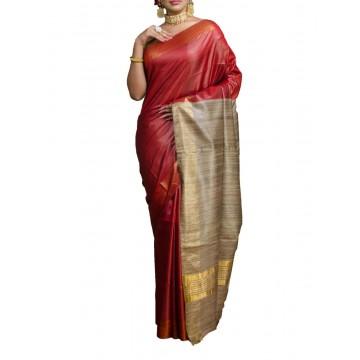 Red Tussar silk saree with beige Ghicha pallu