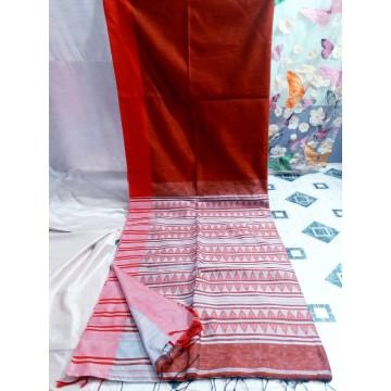 Red Bihu silk-cotton saree