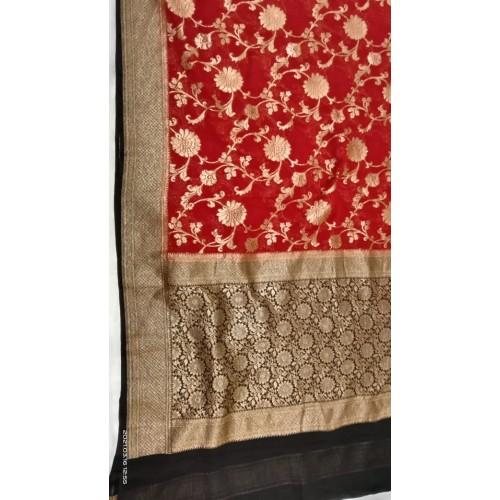 Red and black Banarasi georgette saree with antique gold zari