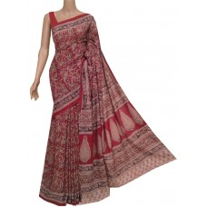 Red cotton Kalamkari saree with hand block print